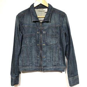 DKNY Zip Up Jean Jacket with Rivet Details